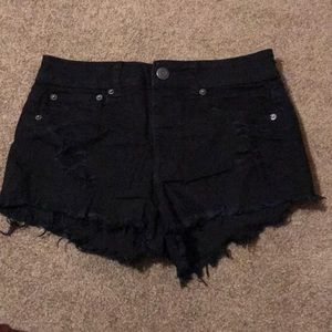 AE black denim distressed shorts